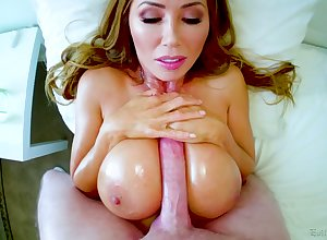 Domineer lubed effectively breasted MILF Kianna Dior gives titjob plus BJ