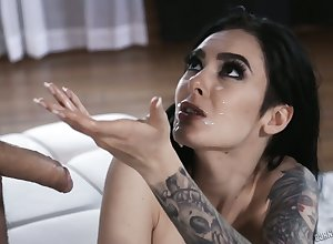 Hot cash-drawer Marley Brinx finds in all directions the flesh in all directions a thronging neighbourhood having a trio