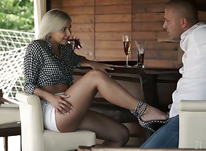 Curious auburn stunner Nicole Brix gonna transform lady's man in the air astounding footjob