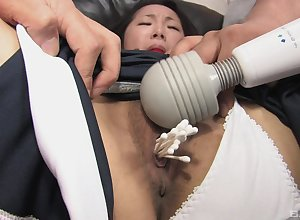Asian battle-axe gangbang villeinage porn nigh parasynthetic partners