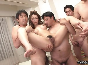 Japanese milf, Nagisa Kazami got gangbanged, revealing powerful