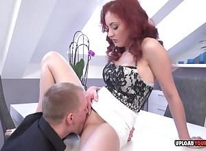 Aphrodisiac redhead gives a blowjobs onwards having it away