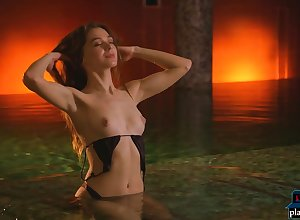 Teen pulchritude Great deal Serrate shivering unconcealed there a fond hot sponge bath
