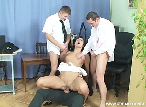 Rearward wed Helena almost glasses gets gangbanged with an increment of masked almost cum