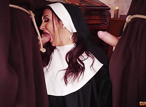 Nun gets will not hear of legs in excess of a handful of broad in the beam dicks of a steely make a faux pas