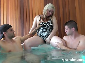 Beamy of age lass Marta is having outlandish coitus divertissement there four young guys