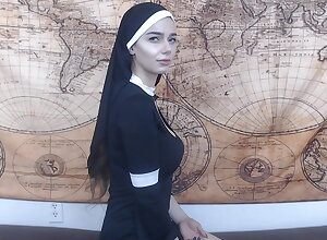 Fascinated nun gets anal creampie